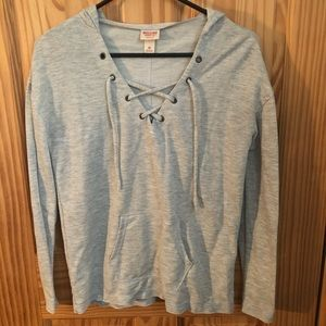V-Neck Lace Up Hoodie Top